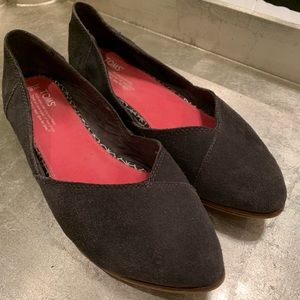 Gray Suede Toms pointed toe